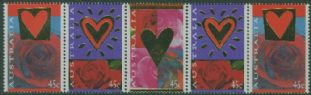 AUS SG1507a St Valentines Day strip of 5